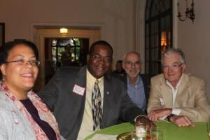 Volunteers take photos at a Volunteer Appreciation Banquet.